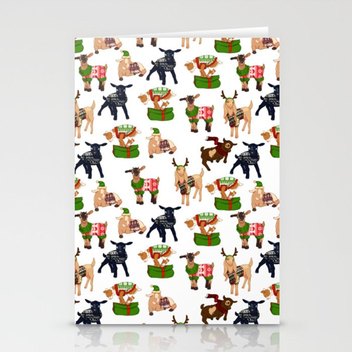 Christmas goats in sweaters repeating seamless pattern Stationery Cards