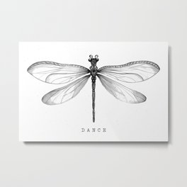 Dragonfly Dance | Black & White Metal Print