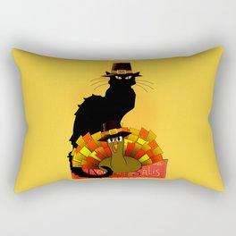 Thanksgiving Le Chat Noir With Turkey Pilgrim Rectangular Pillow