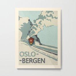 Vintage travel poster-Oslo-Bergen. Metal Print