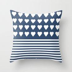 Heart Stripes Navy Throw Pillow