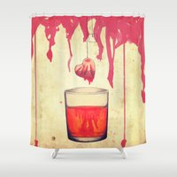 whisky Shower Curtains featuring heart tea by Priscila Arandiga