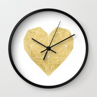 gold foil Wall Clocks featuring Geometric Gold Foil Heart by Always Brighter