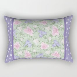 Flower Play Antique over Purple Tiny Flowers Rectangular Pillow