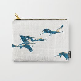 Beautiful Cranes in white background Carry-All Pouch