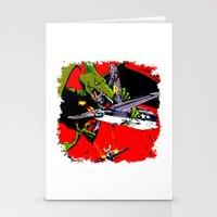 kaiju Stationery Cards featuring Kaiju Attack by sasha alexandre keen
