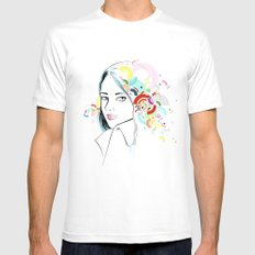 Thoughts White MEDIUM Mens Fitted Tee