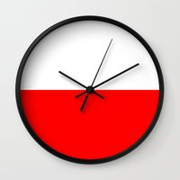 poland Wall Clocks featuring Poland country flag by tony tudor