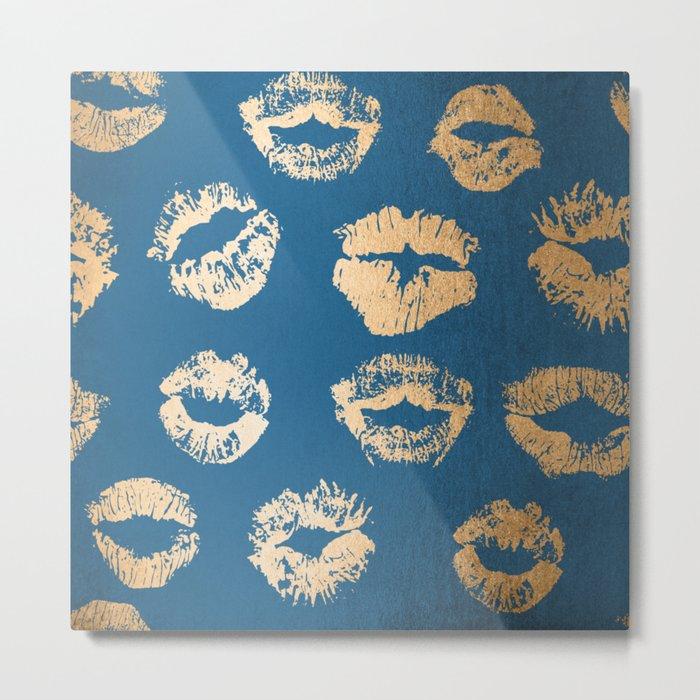 Metallic Gold Lips in Orange Sherbet and Saltwater Taffy Teal Shimmer Metal Print
