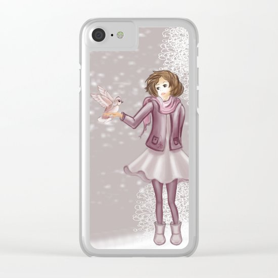 Snow Girl Clear iPhone Case