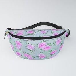 Pink Double Petunias over Blue Green Sm Fanny Pack