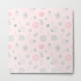 Contemporary  Abstract Pattern Art on Pink-Mix & Match with Simplicity of life Metal Print