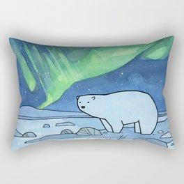 Polar Bear and Northern Lights Rectangular Pillow