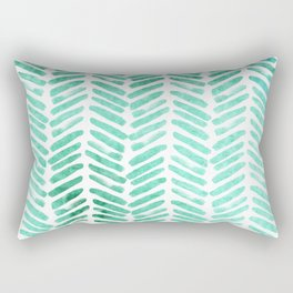 Handpainted Chevron pattern - light green and aqua - stripes Rectangular Pillow