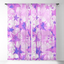 Bright purple iridescent stars on a light background in the projection. Sheer Curtain
