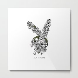 T.F TRAN CLASSIC FLORALS EASTER BUNNY WHITE EDITION Metal Print
