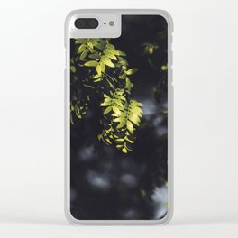 Green Textured Leaf Clear iPhone Case