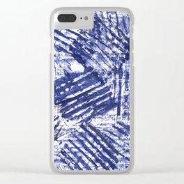 Blue stripes Clear iPhone Case