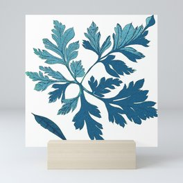 Blue Vintage Leaves Mini Art Print