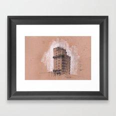 Tagblattturm Stuttgart - chalk Framed Art Print