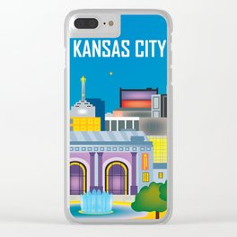 Kansas City, Missouri - Skyline Illustration by Loose Petals Clear iPhone Case