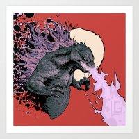 2001 Art Prints featuring Godzilla 2001 by Leonardo LAGONZA Gonzalez