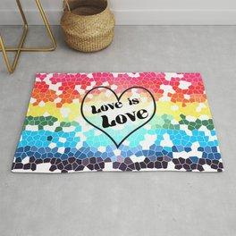 Love is Love Mosaic Pride Flag Design Rug