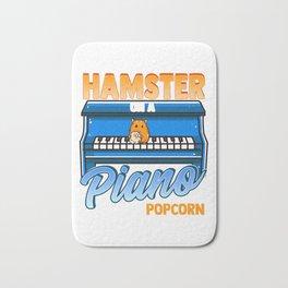 Funny Hamster On A Piano Eating Popcorn Random Funny Design Bath Mat