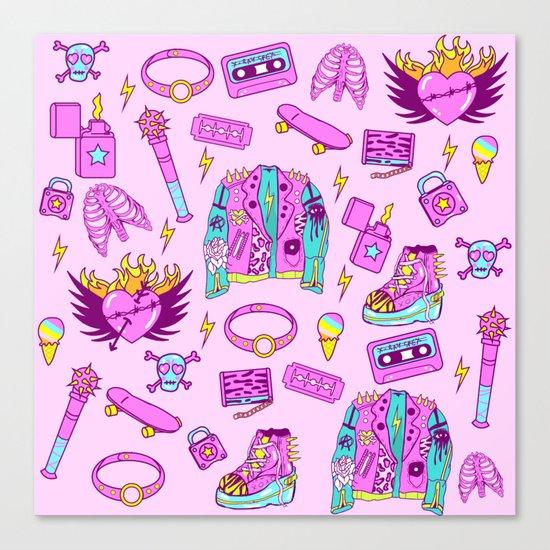 Pink Punk Girly Pattern Canvas Print