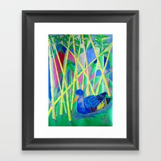 La Papera nello Stagno al Tramonto (Duck in a Pond at Sunset) Framed Art Print