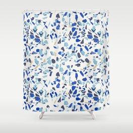 Terrazo azul Shower Curtain
