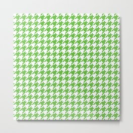 Green Houndstooth Pattern Metal Print