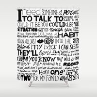 word Shower Curtains featuring Word by Etiquette