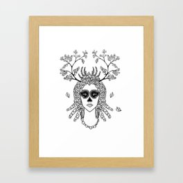 Santa Muerte. Portrait of young woman with skeleton make-up and flower wreath with berries black and Framed Art Print