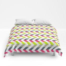 Neon Strawberry - Chevron Geometric Pattern Comforters