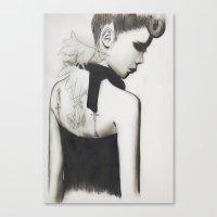 2ne1 Canvas Prints featuring run away (b/w) by kkmli