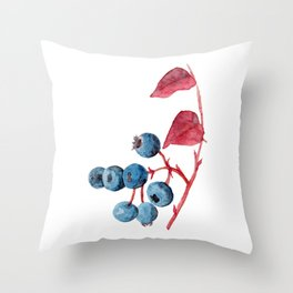 Watercolor Blueberries Throw Pillow