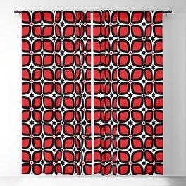 Mid Century Modern 4 Leaf Clover - Black, White, Red Blackout Curtain