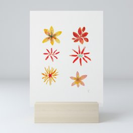 Six Flowers collection - coral yellow palette Mini Art Print