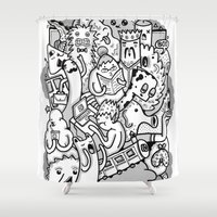 family Shower Curtains featuring family by ybalasiano