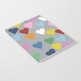 Hearts Heart Multi Grey Notebook