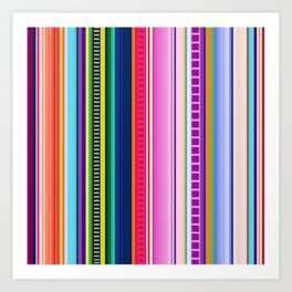 Mexican Serape Inspired Colorful Stripe Summer Fabric Art Print