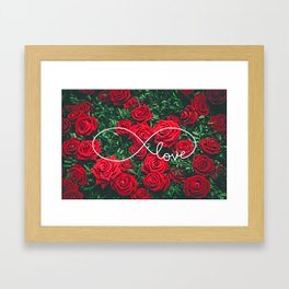 Red Roses Photography & Infinity Love Sign Framed Art Print