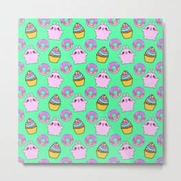 Cute funny Kawaii chibi pink little playful baby bunnies, happy sweet donuts and adorable colorful yummy cupcakes light bright pastel teal green seamless pattern design. Metal Print