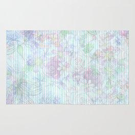 Vintage pastel pink lavender teal floral stripes Rug