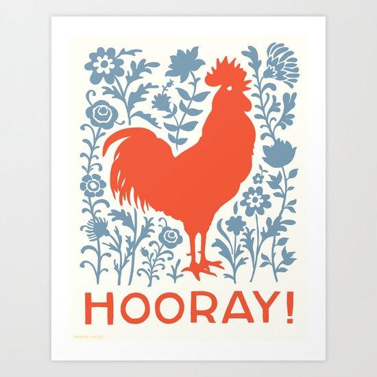 Hooray! rooster large print Art Print