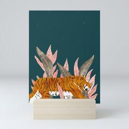 Tiger walking through jungle at night Mini Art Print