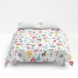 Retro Santa Holiday Christmas Pattern Comforters