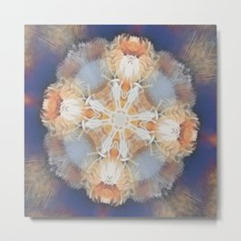 kaleidoscope pattern in coral and blue Metal Print