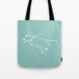 Gemini Zodiac Constellation - Teal Tote Bag